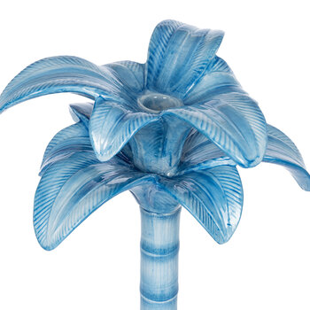 Palm Trees Candle Holder - Blue