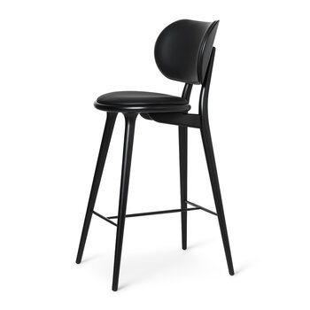 High Stool with Backrest - Black Leather