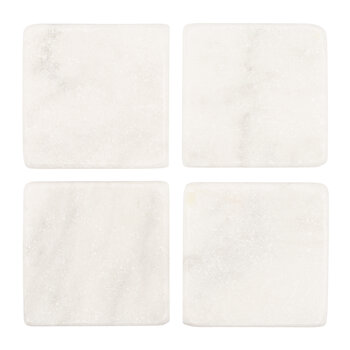 White Marble Coasters - Set of 4 - Square