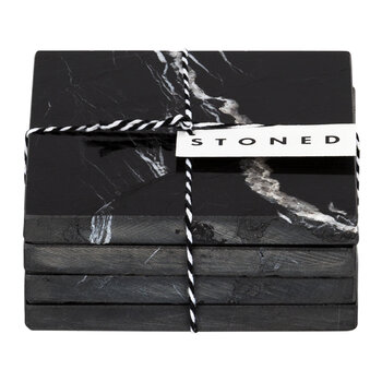Marble Coasters - Set of 4 - Black