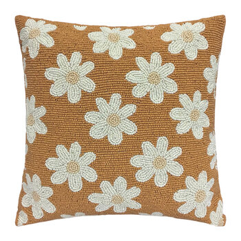 Daisies Beaded Cushion - Terra