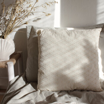 Daisy Embroidered Pillow with Fringe - Cream
