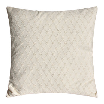 Daisy Embroidered Cushion with Fringe - Cream
