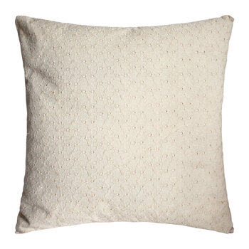 Daisy Embroidered Cushion with Fringe - White