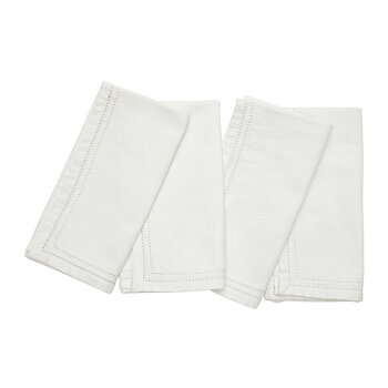 Betty Napkins With Double Eyelet Trim - Ivory