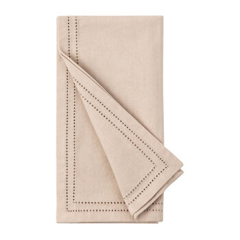 Betty Napkins With Double Eyelet Trim - Sand