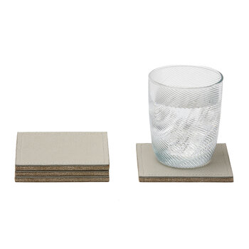 Evan Square Coasters - Set Of 4 - Light Grey Leather