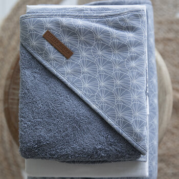 Hooded Towel - Lily Leaves Blue
