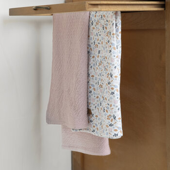 Muslin Cloth - 70x70cm - Pure Pink/Spring Flowers