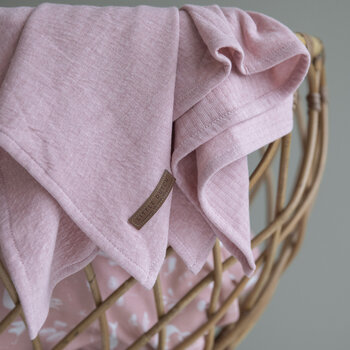 Muslin Cloth - 70x70cm - Lily Leaves Pink/Pure Pink