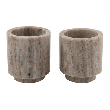 Footed Marble Tealight Holder - Set of 2