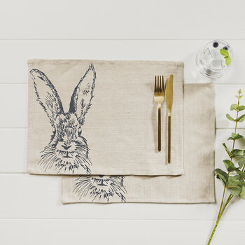 Hare Linen Placemats - Set of 2