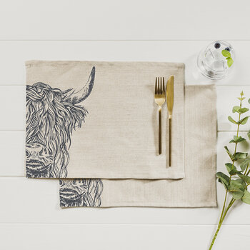Highland Cow Linen Placemats - Set of 2