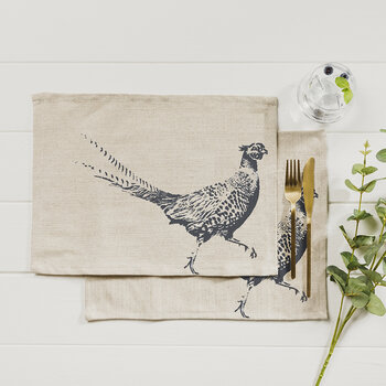 Pheasant Linen Placemats - Set of 2