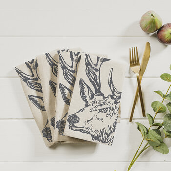Stag Linen Napkins - Set of 4
