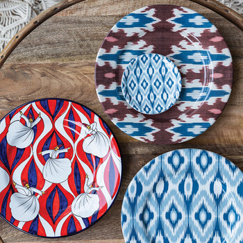 Ceramic Ikat Dinner Plate - Red/Blue/White