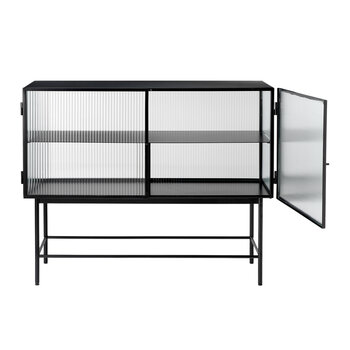 Haze Sideboard With Reeded Glass - Black