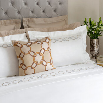 Links Embroidery Pillowcase - 30x40cm - Beige/White