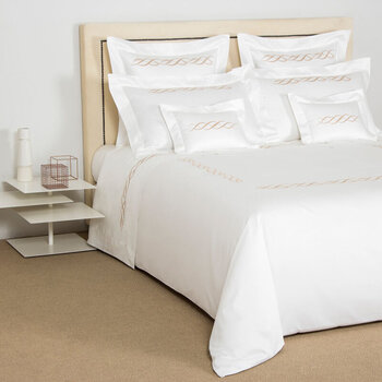 Pearls Embroidery Flat Sheet Set - Super King - White/Beige