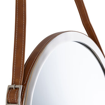 Hanging Mirror with Leather Strap