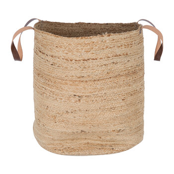 Burlap Look Basket With Handles - Large