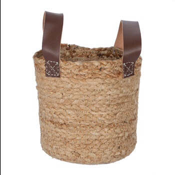 Burlap Look Basket With Handles - Small