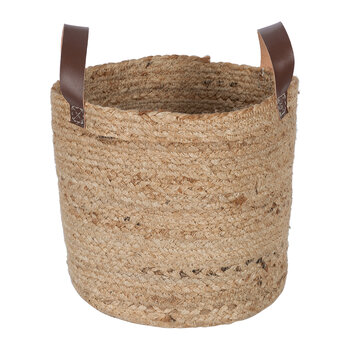 Burlap Look Basket with Handles - Set of 2