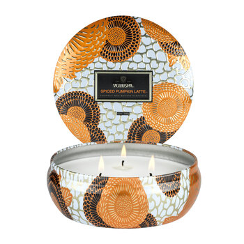 Japonica 3 Wick Candle in Tin - Spiced Pumpkin Latte