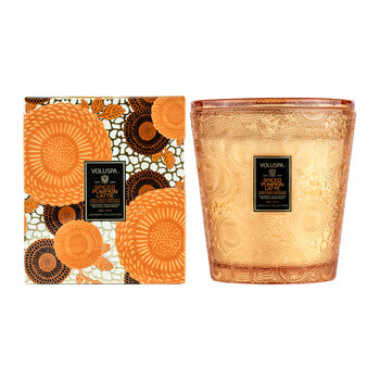 Japonica 3 Wick Candle with Lid/Tray - Spiced Pumpkin Latte