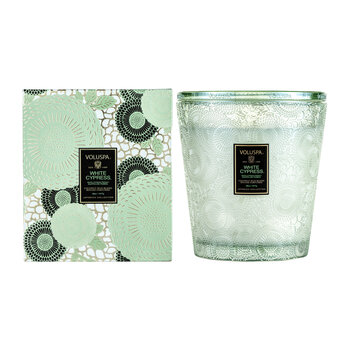 Japonica 3 Wick Candle with Lid/Tray - White Cypress
