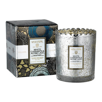 Japonica Scalloped Candle - White Currants & Alpine Lace