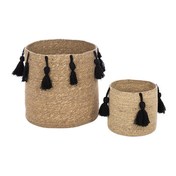 Seagrass Tassel Trim Basket - Black - Set of 2