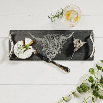 Highland Cow Tray, Cheese Knife & Bottle Pourer Set