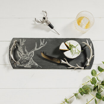Stag Tray, Cheese Knife and Bottle Stopper Set