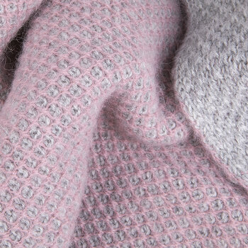 Inti Knitted Baby Blanket - Dusty Pink/Grey