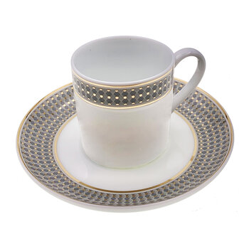 Modern Vintage Coffee Cup With Saucer - Set Of 2 - Blue/Gold
