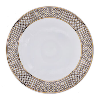 Modern Vintage Soup Plate - Set Of 2 - Beige/Gold