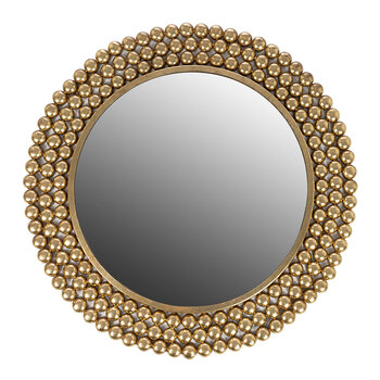 Dotted Frame Round Mirror - Gold