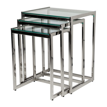 Glass Top Nesting Side Tables - Set of 3