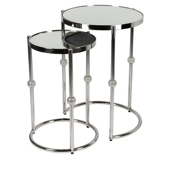 Round Mirror Top Nesting Side Tables - Set of 2