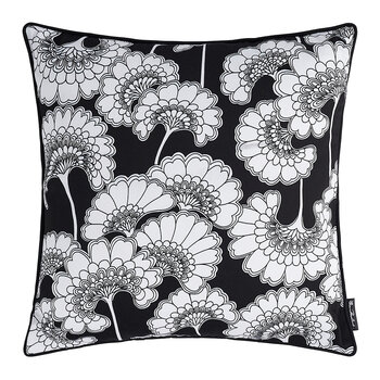 Japanese Floral Cotton Pillow - 50x50cm - Black