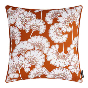 Japanese Floral Cotton Pillow - 50x50cm - Burnt Orange