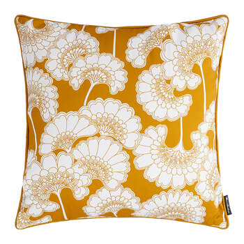 Japanese Floral Cotton Pillow - 50x50cm - Mustard
