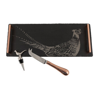 Pheasant Tray, Cheese Knife & Bottle Pourer Set