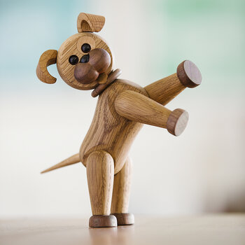 Happy The Dog Figurine - Red Oak
