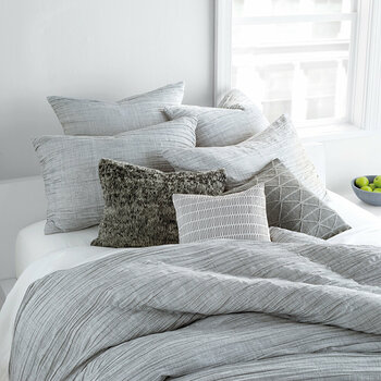 City Pleat Duvet Cover - Gray