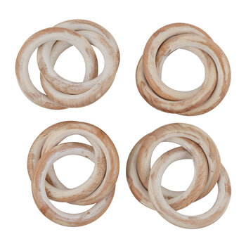 Entwined Wooden Hoop Napkin Rings - Set of 4