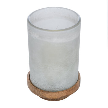 Buried Glass Hurricane with Wooden Base
