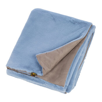 Faux Fur Throw with Faux Suede Backing - Persian Blue