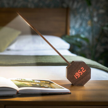 Octagon Portable Alarm Clock & Desk Light - Natural Walnut Wood